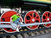 Boy poses on the railway wheels — Stock Photo