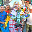 English, Ukranian, Italian fans together during EURO 2012 — Stock Photo #12276054