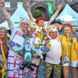 English and Ukrainian fans together during EURO 2012 — Stock Photo