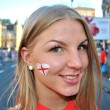 Happy girl, fan of English football team - Stock Photo
