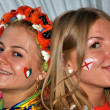 Ukrainian and English girls together during EURO 2012 - Stock Photo