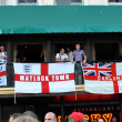 English fans with banners in KIev, Ukraine during EURO 2012 — Stock Photo