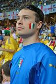 Italienischer fan während des spiels der euro 2012-italien gegen england in kiew, ukraine — Stockfoto