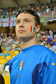 Intense Italian fan during the match of EURO 2012 Italy against England in Kiev, Ukraine — Stock Photo