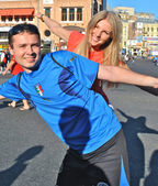 Italian and English fans in Kiev during EURO 2012 — Stock Photo