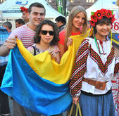 Ukrainian fans together during EURO 2012 — Stock Photo