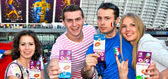 Happy fans got ticket for the football match between Italy and England on EURO 2012 — Stock Photo