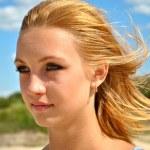 Beautiful girl on the wind — Stock Photo