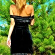 Sexual girl in a black dress in the wood — Stock Photo