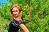 Young sexual blond model in the wood — Stock Photo