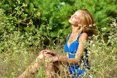 Amazing blonde sexual female model in a blue dress poses among the grass — Stock Photo