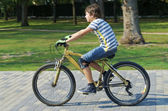 Young boy over a bicycle — Stock Photo