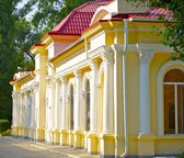 Children railway station in the park named after colonel Chkalov in Dnipropetrovsk, Ukraine — Stock Photo