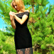 Stock Photo: Beautiful sexual elegant blond girl poses in black dress
