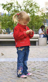 Little girl feed pigeons with seeds — Stock Photo