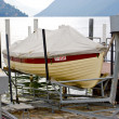 Boat near a pier in Lugano, Switzerland — Stock Photo