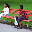 Boy wants to start talking to a girl - Stok fotoğraf