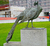 Statue of a peacock in Switzerland — Stock Photo