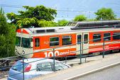 Поезд в Лугано, Швейцария — Стоковое фото