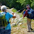 Tourists explore mountains with the sticks — Stockfoto