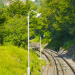 Funicular rails on the mountain — Stock Photo