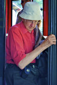 Man goes out from the train — Stock Photo