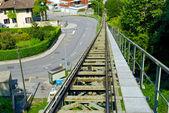 рельсы на город лугано, швейцария — Стоковое фото
