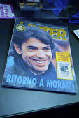 Retro magazine about Massimo Moratti joining Inter mIlan at the Inter museum — Stock Photo