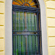 Window with grates on the building — Stok fotoğraf
