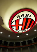 Symbol of AC MIlan on the top of their changing room — Stock Photo