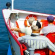 Passengers on the bow of the ship — Stock Photo