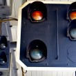 Traffic light on the railway station — Stock Photo