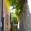 Stock Photo: Narrow street of the town on the mountain hill called Gandria, Switzerland