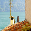 Stock Photo: Roof of the house of the town on the mountain hill called Gandria, Switzerland