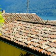 Roof on the house of the town on the mountain hill called Gandria, Switzerland — Stock Photo
