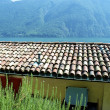 Stock Photo: Roof on the house of the town on the mountain hill called Gandria, Switzerland