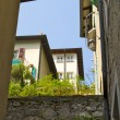 Stock Photo: Houses in the town on the mountain hill called Gandria, Switzerland