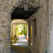 Stock Photo: Stone passage in the town on the mountain hill called Gandria, Switzerland