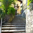 Stone stair way in the town on the mountain hill called Gandria, Switzerland — Stock Photo