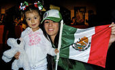 Two girl from Mexico with the flag — Stock Photo