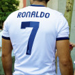 Fan in Cristiano Ronaldo shirt - Stock Photo