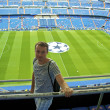 Boy on the Santiago bernabeu stadium - Stock Photo