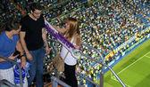 Boys flirt with a Real Madrid fan girl — Stock Photo