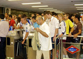 Are stuck in the Metro of Madrid after the game — Stock Photo