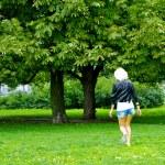 Girl runs on the grass — Stock Photo #13158617