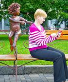 Cupidon schiet in de vrouw — Stockfoto
