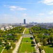 View from the Eiffel tower on the gardens where the tourist take photos - ストック写真