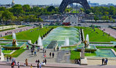 Trocadero Fountain, near the Eiffel Tower — Stockfoto