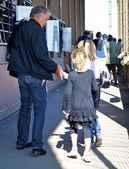 Father and daughters on the Eiffel tower — Stock Photo