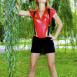 Beautiful sexual girl wearing red and black — Stock Photo #13260980